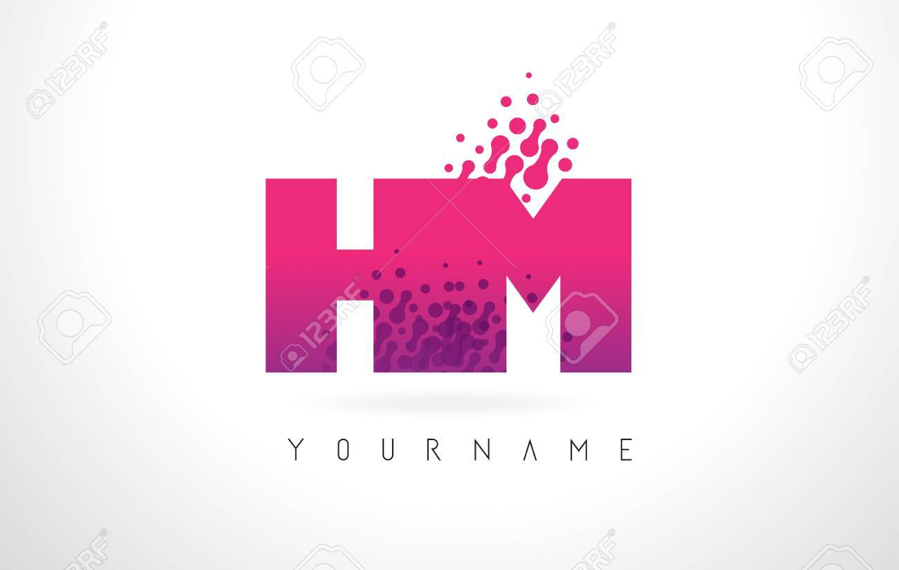 HM H M Letter Logo With Pink Letters And Purple Color Particles ...