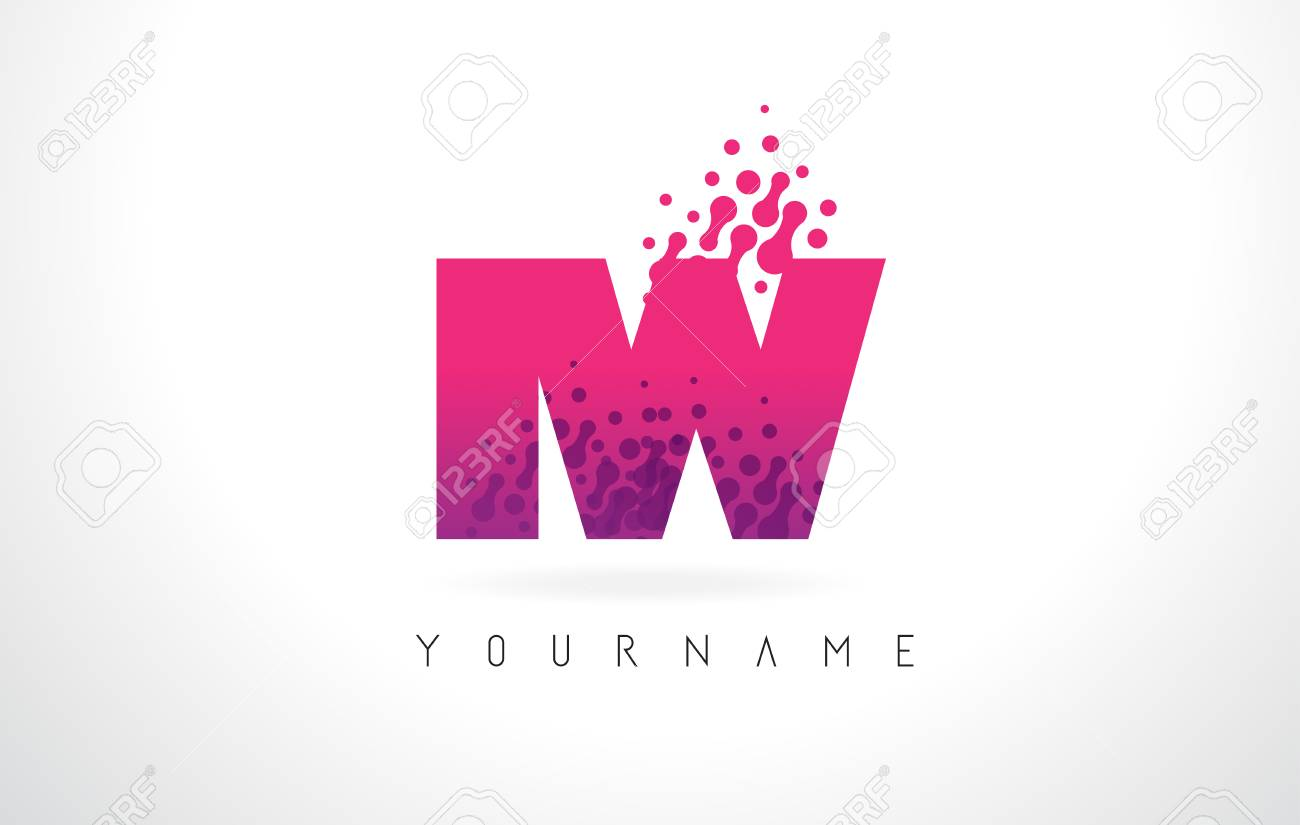 IW I W Letter Logo With Pink Letters And Purple Color Particles ...