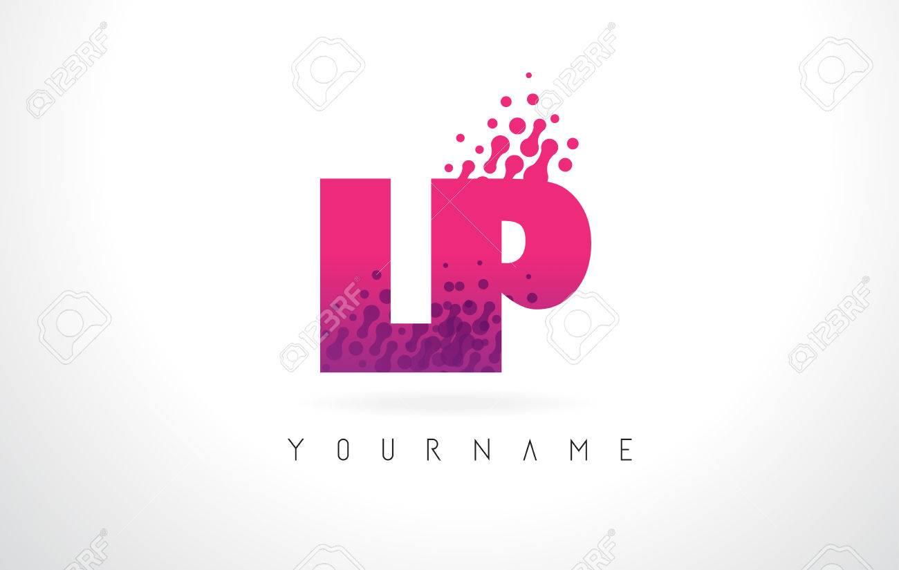 LP L P Letter Logo With Pink Letters And Purple Color Particles ...