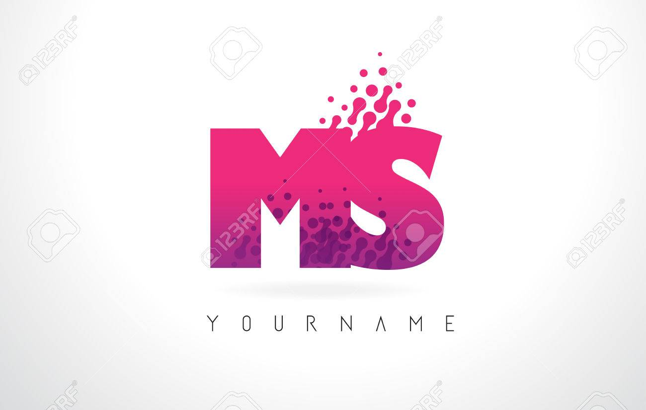 MS M S Letter Logo With Pink L...