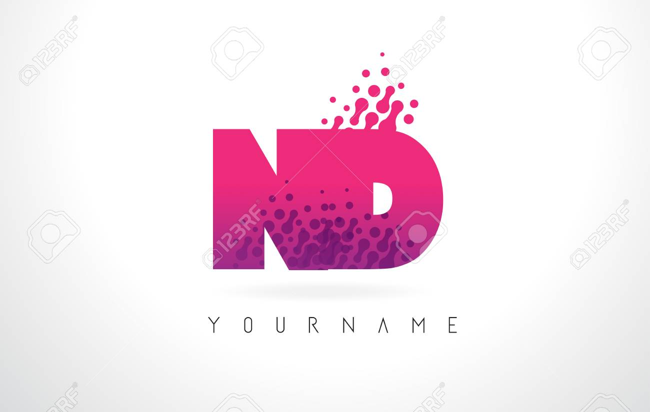 ND N D Letter Logo With Pink Letters And Purple Color Particles ...