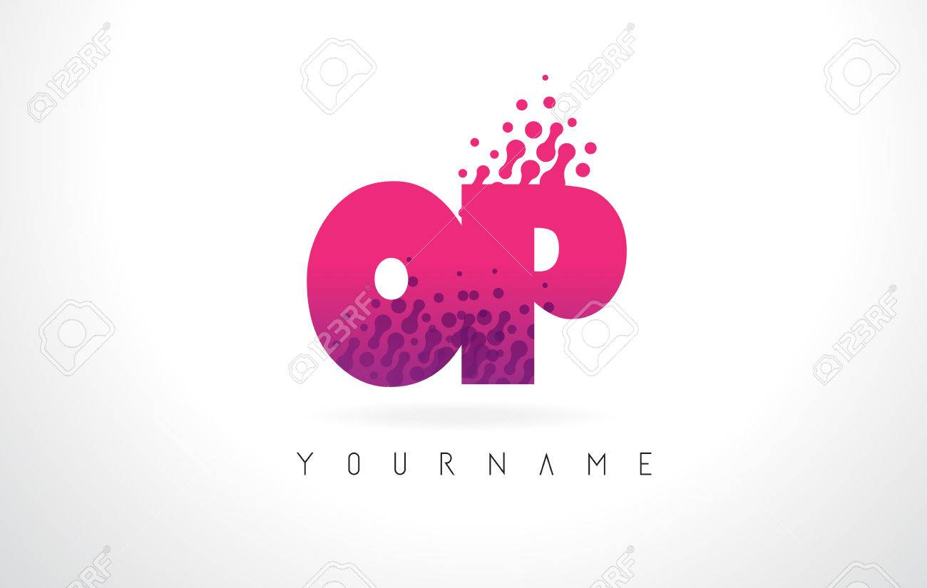 OP O P Letter Logo With Pink Letters And Purple Color Particles ...