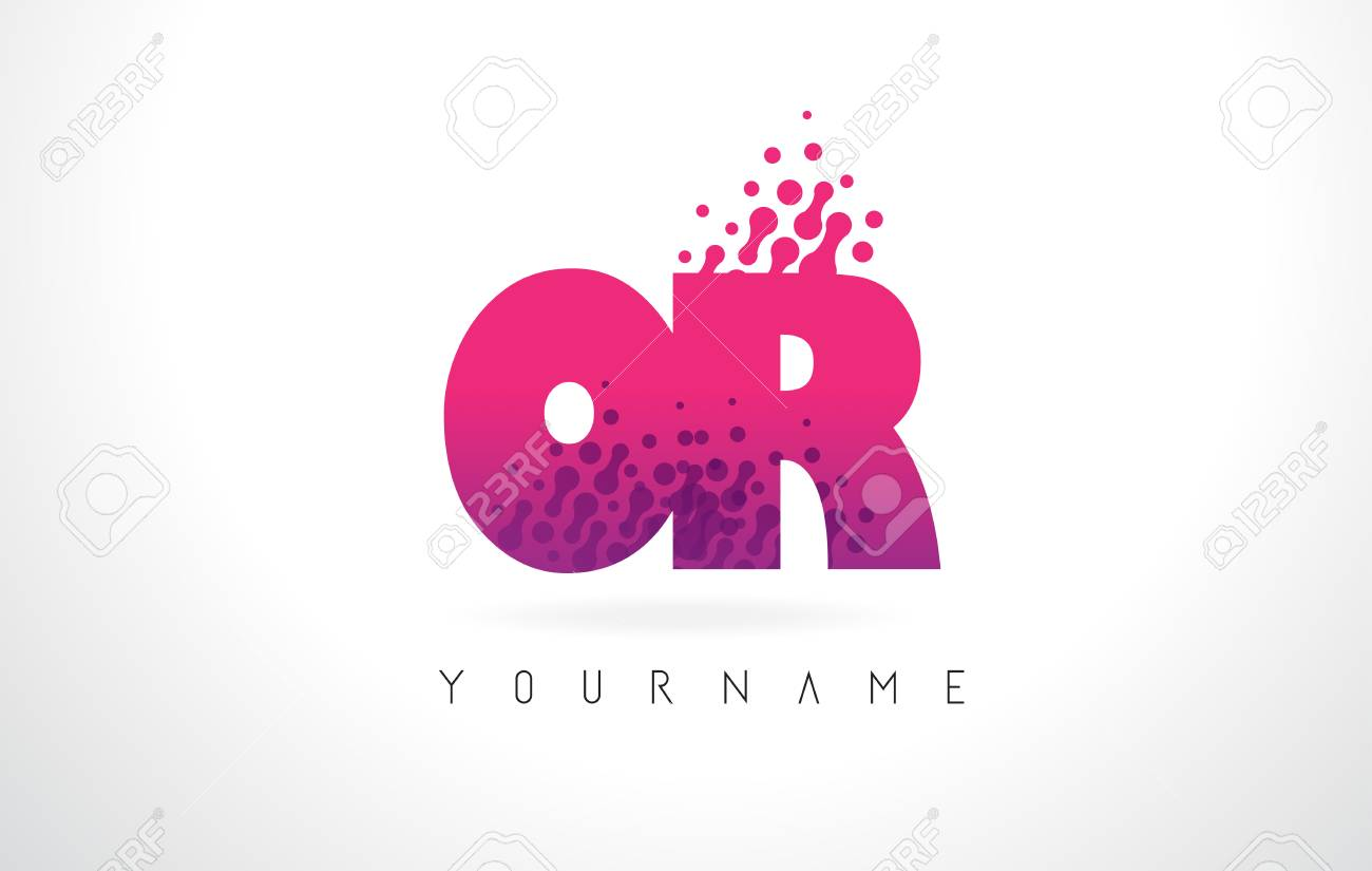 OR O R Letter Logo With Pink Letters And Purple Color Particles ...