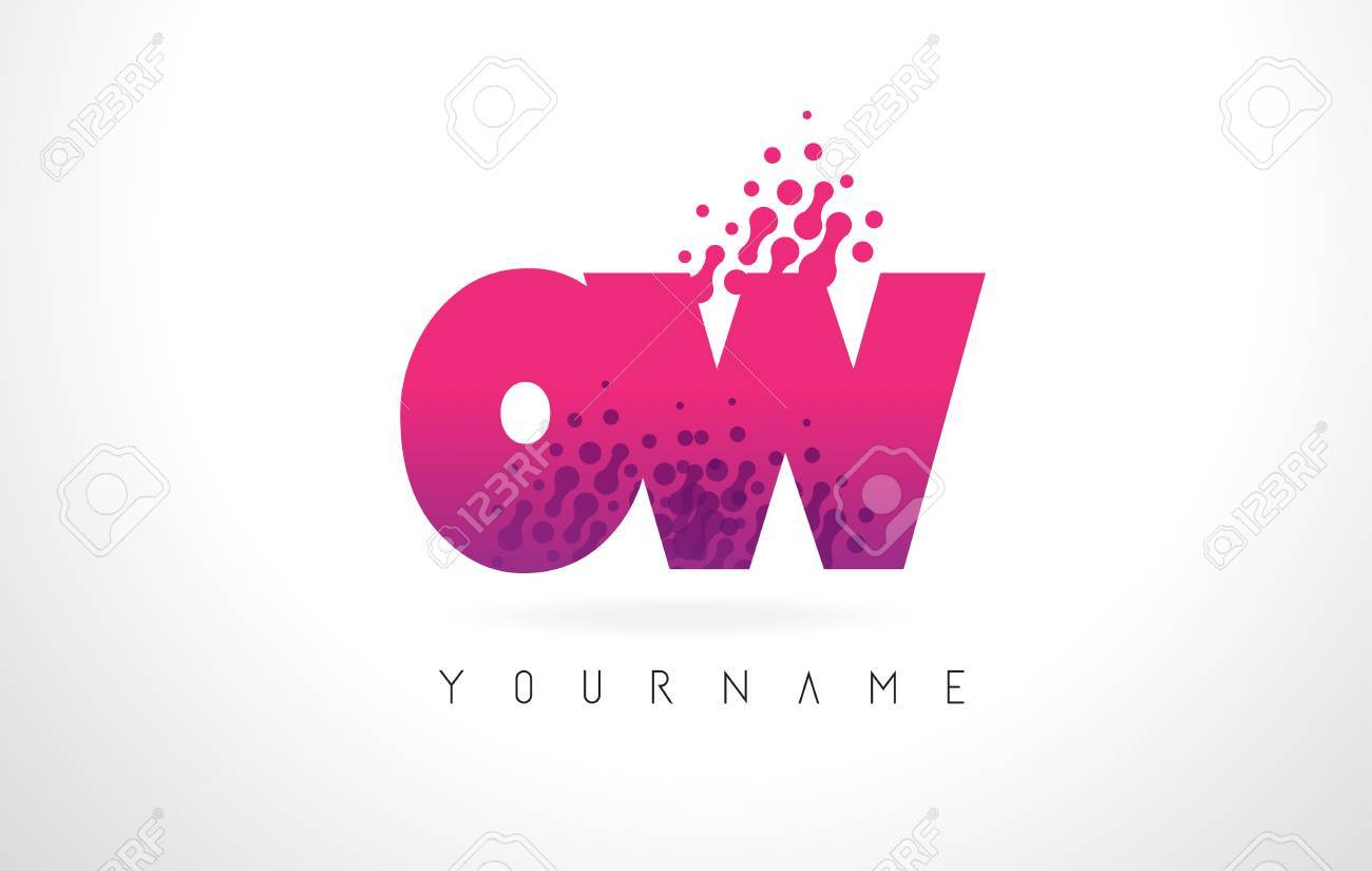 OW O W Letter Logo With Pink Letters And Purple Color Particles ...