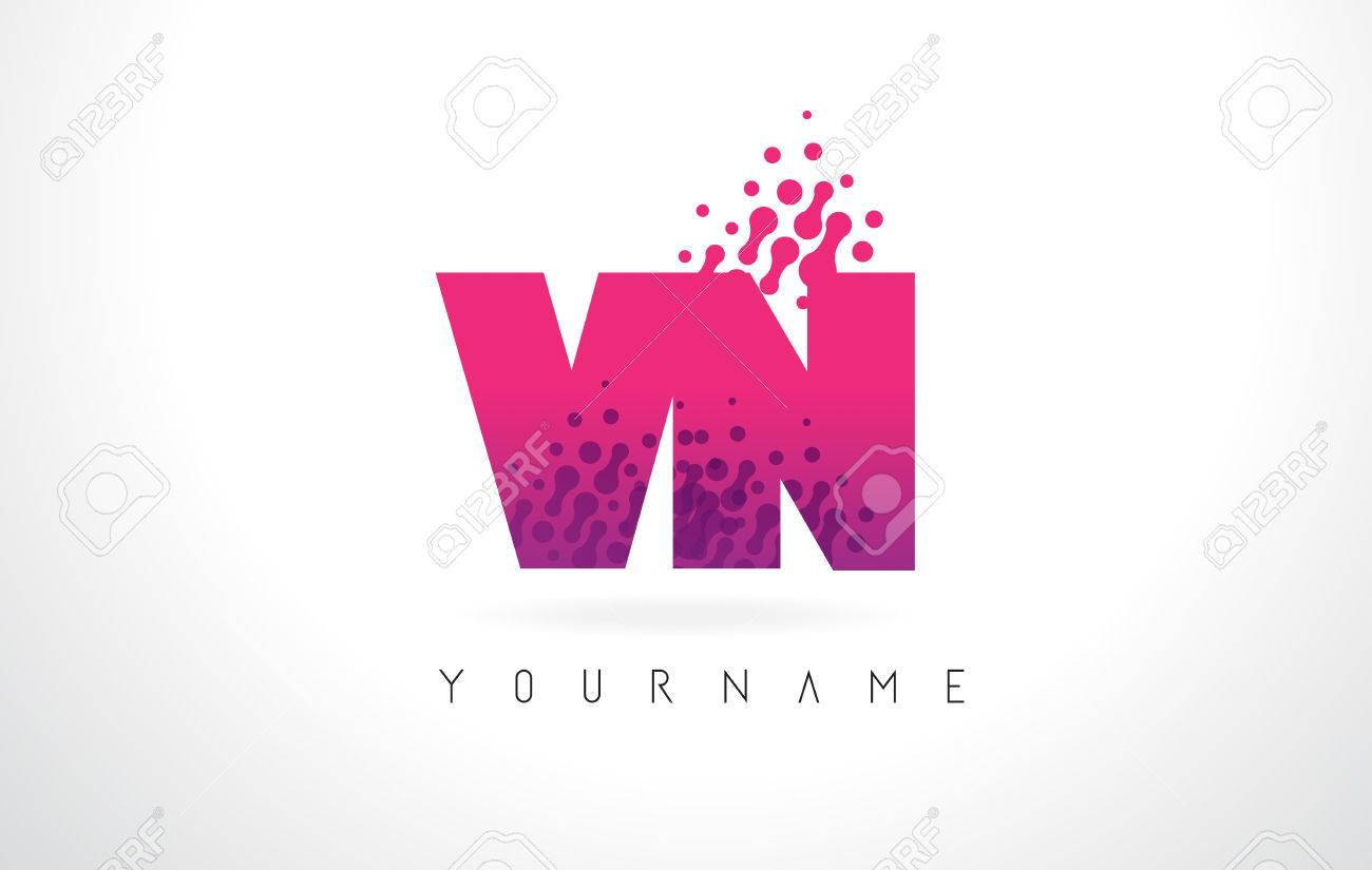 VN V N Letter Logo With Pink Letters And Purple Color Particles ...