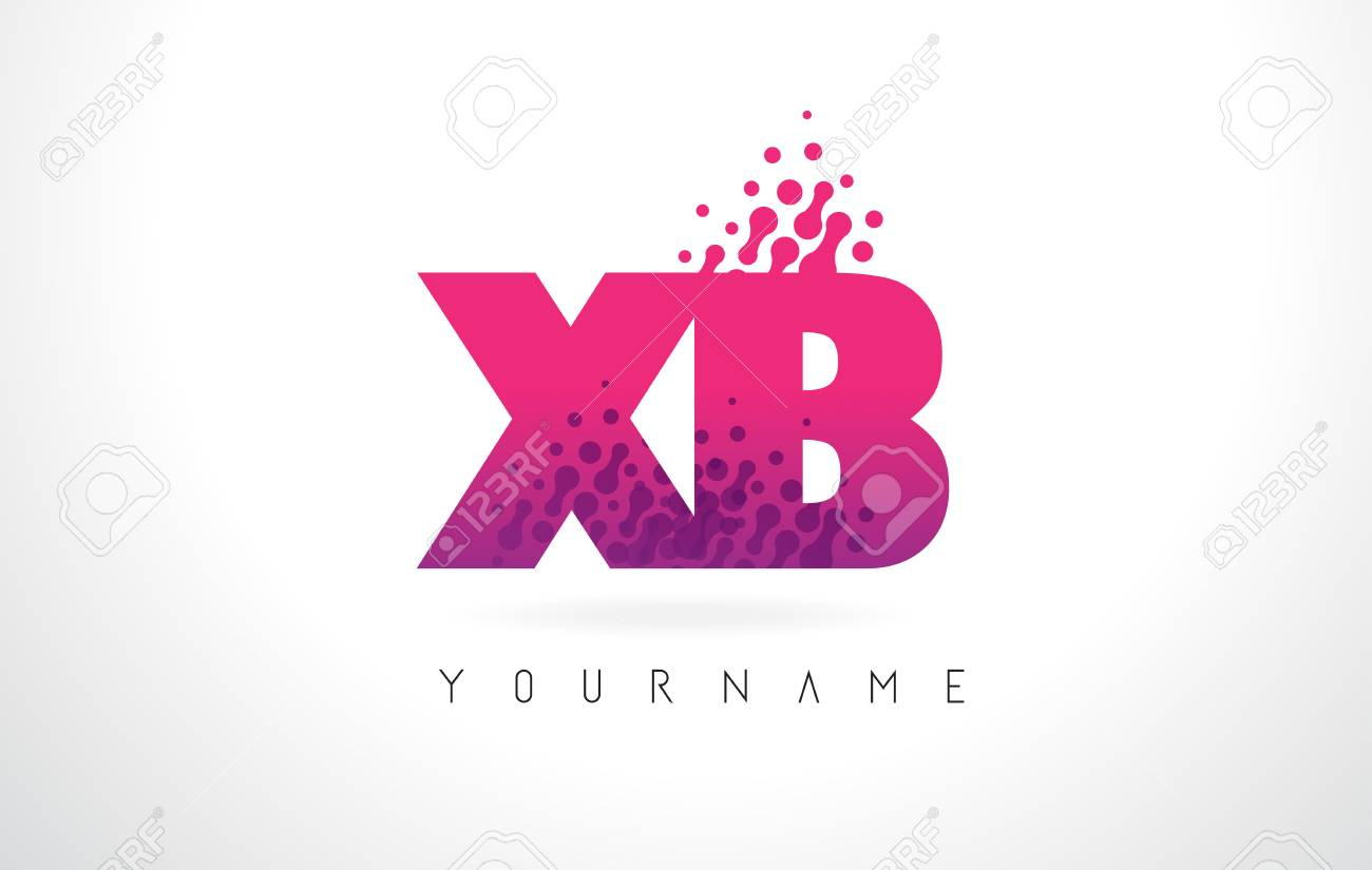 XB X B Letter Logo With Pink Letters And Purple Color Particles ...