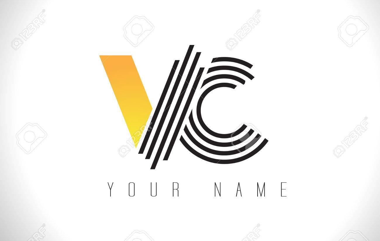 VC Black Lines Letter Logo. Creative Line Letters Design Vector ...
