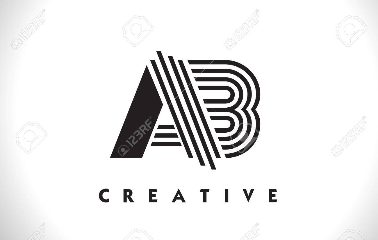 Logotipo De La Letra De AB Con El Diseño Negro De Las Líneas ...