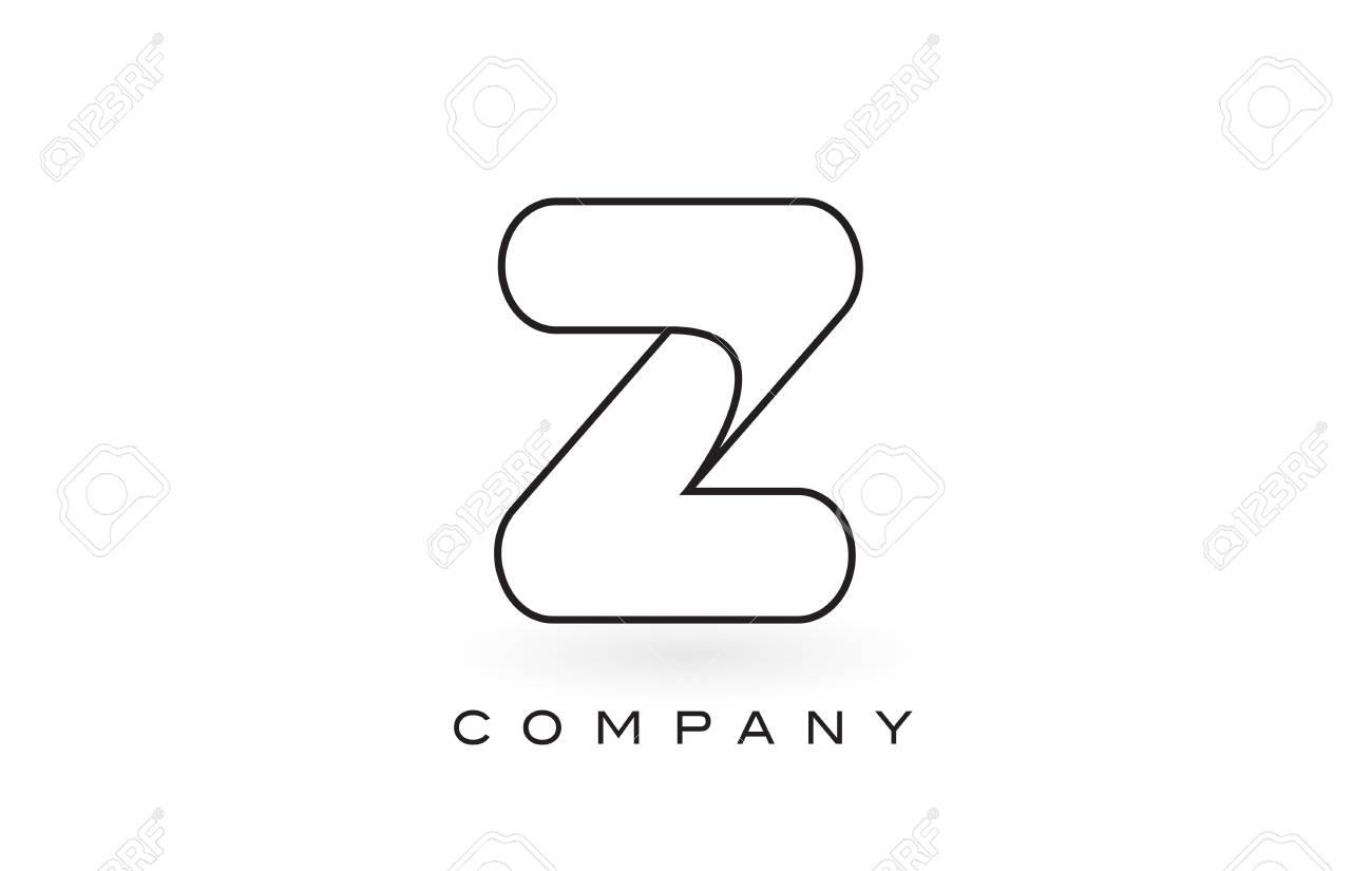 Z Monogram Letter Logo With Thin Black Monogram Outline Contour