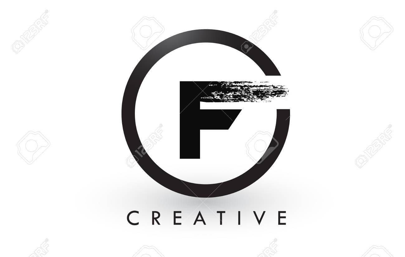 F Brush Letter Logo Design With Black Circle Creative Brushed