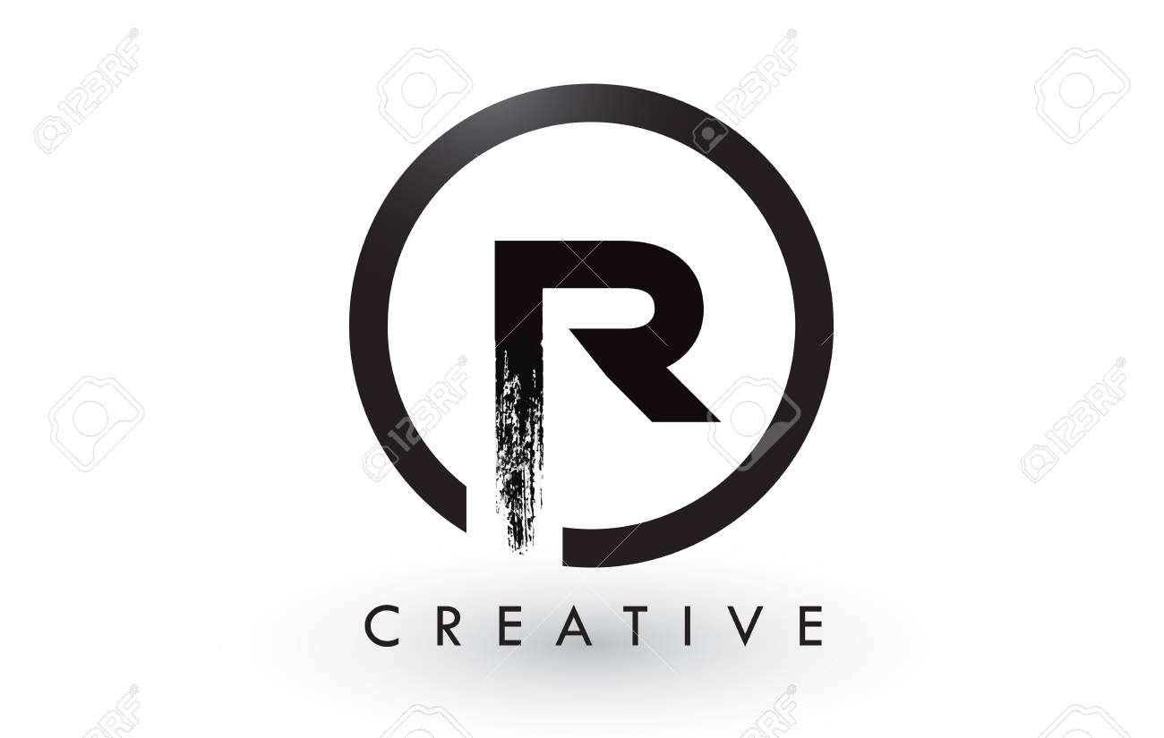 R brush letter logo design with black circle creative brushed r brush letter logo design with black circle creative brushed letters icon logo stock thecheapjerseys Gallery