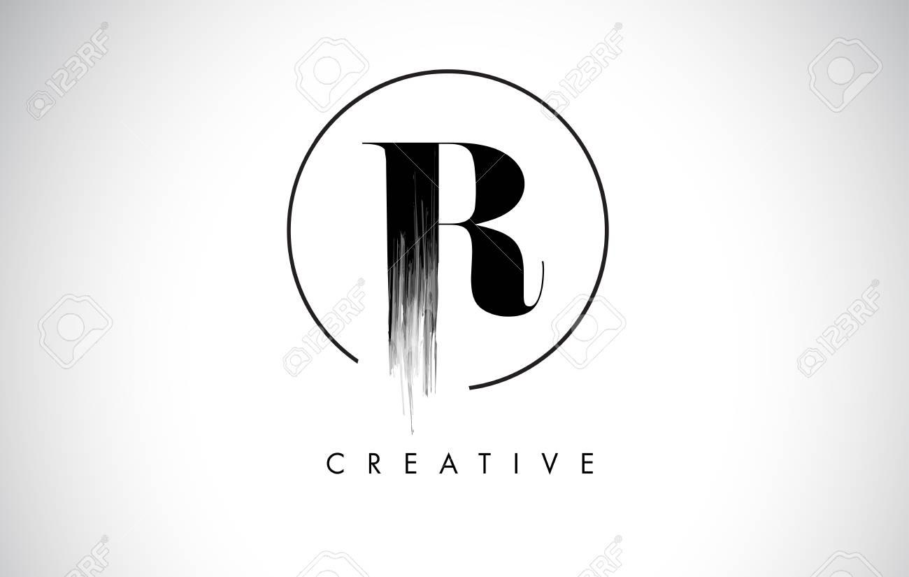 R brush stroke letter logo design black paint logo leters icon r brush stroke letter logo design black paint logo leters icon with elegant circle vector thecheapjerseys Images