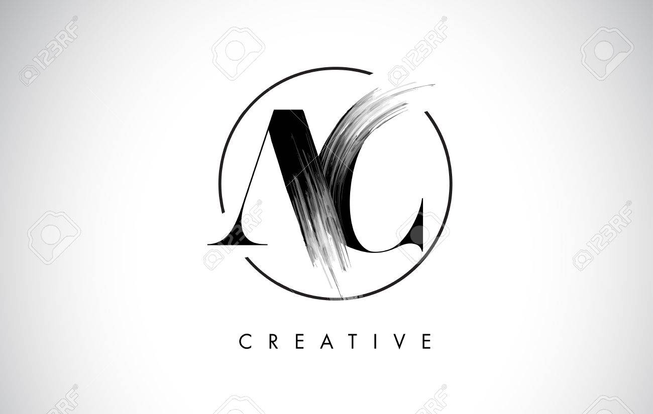 AC Brush Stroke Letter Logo Design. Black Paint Logo Leters Icon ...