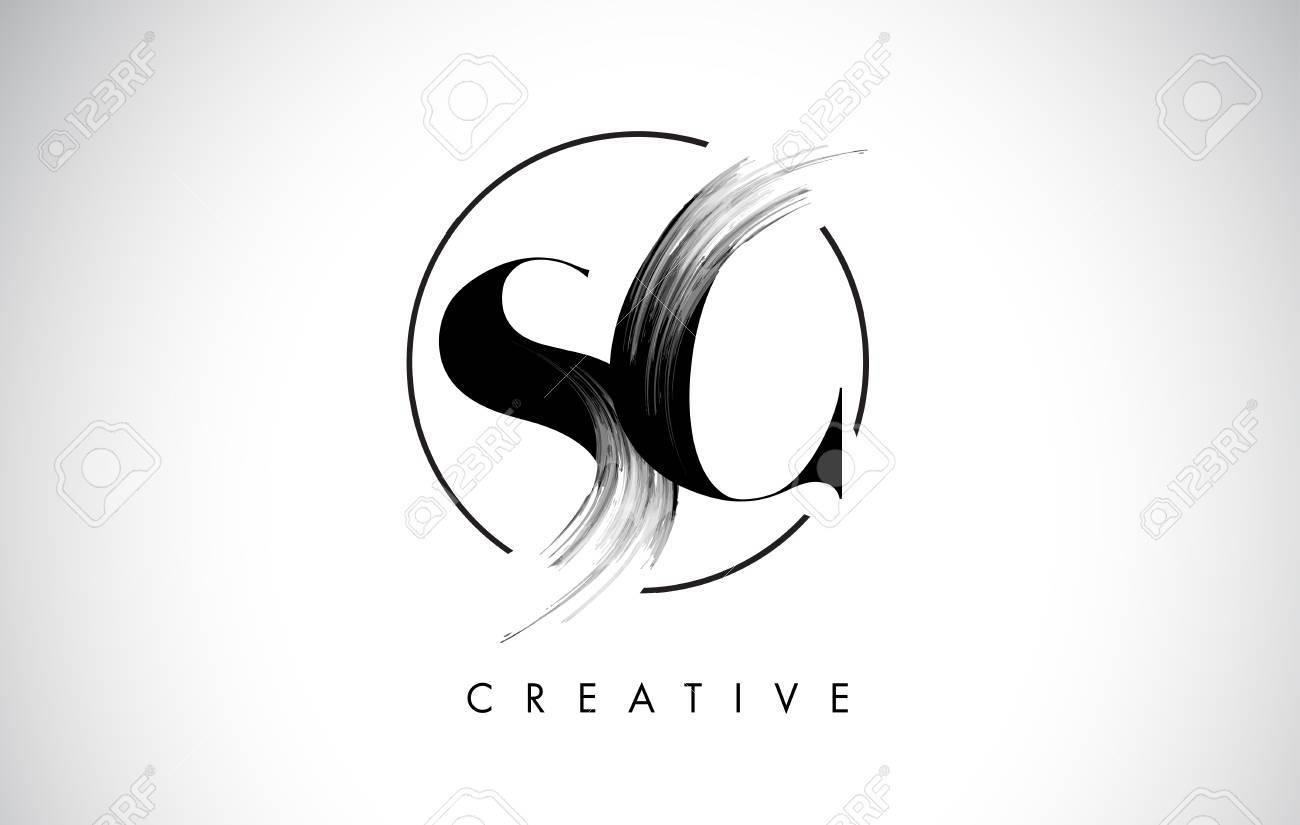 Sc Brush Stroke Letter Logo Design Black Paint Logo Leters Icon