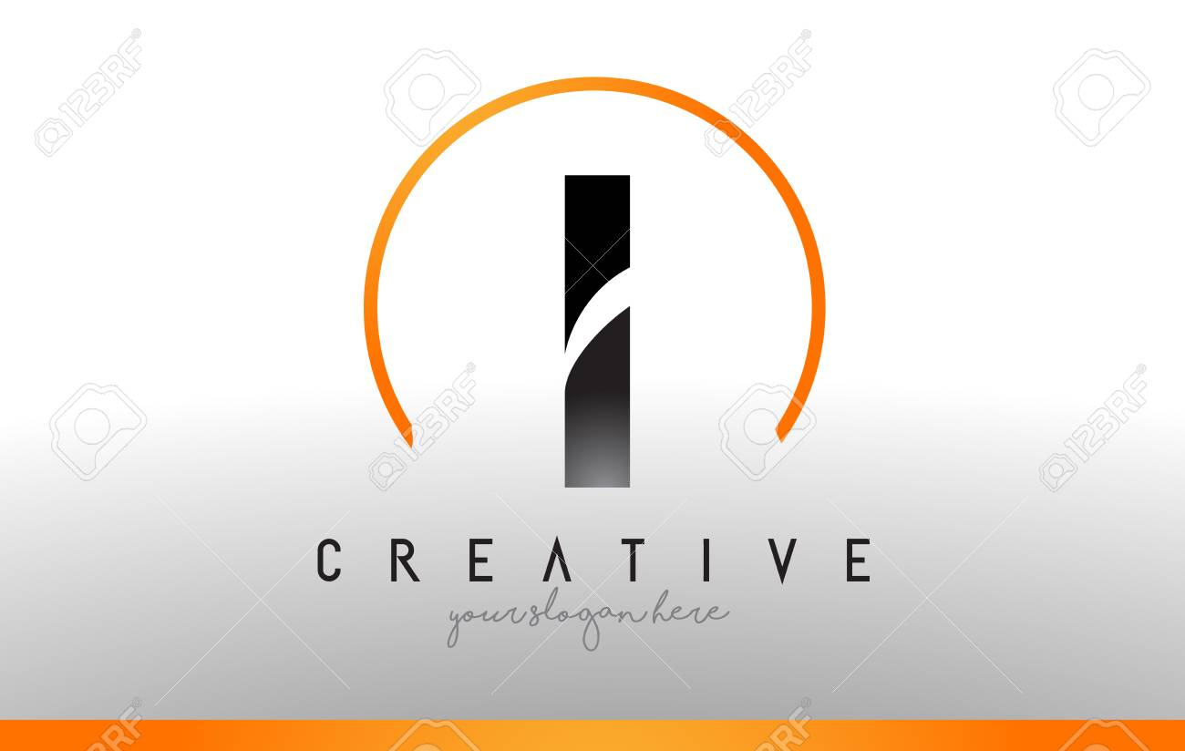 Cool Letter I Logo.I Letter Logo Design With Black Orange Color Cool Modern Icon