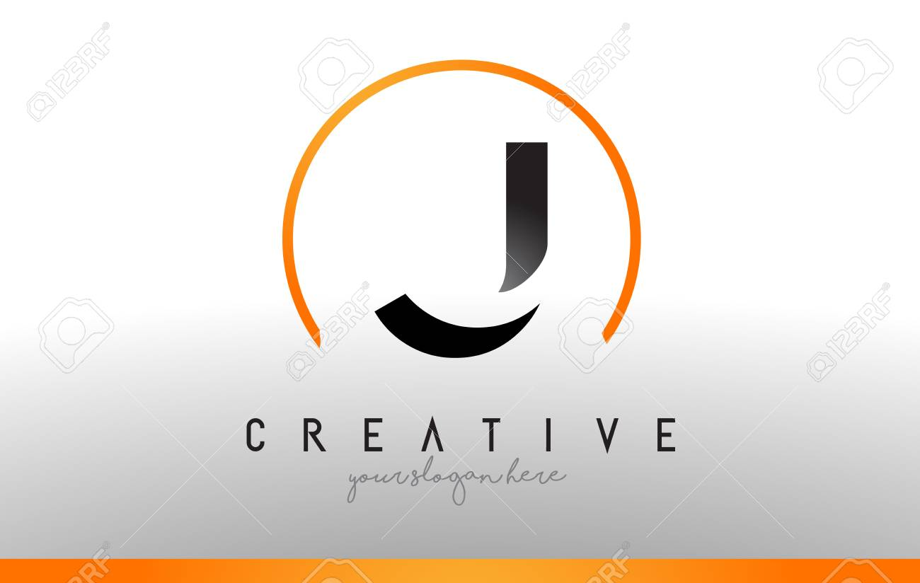 Cool Letter I Logo.J Letter Logo Design With Black Orange Color Cool Modern Icon