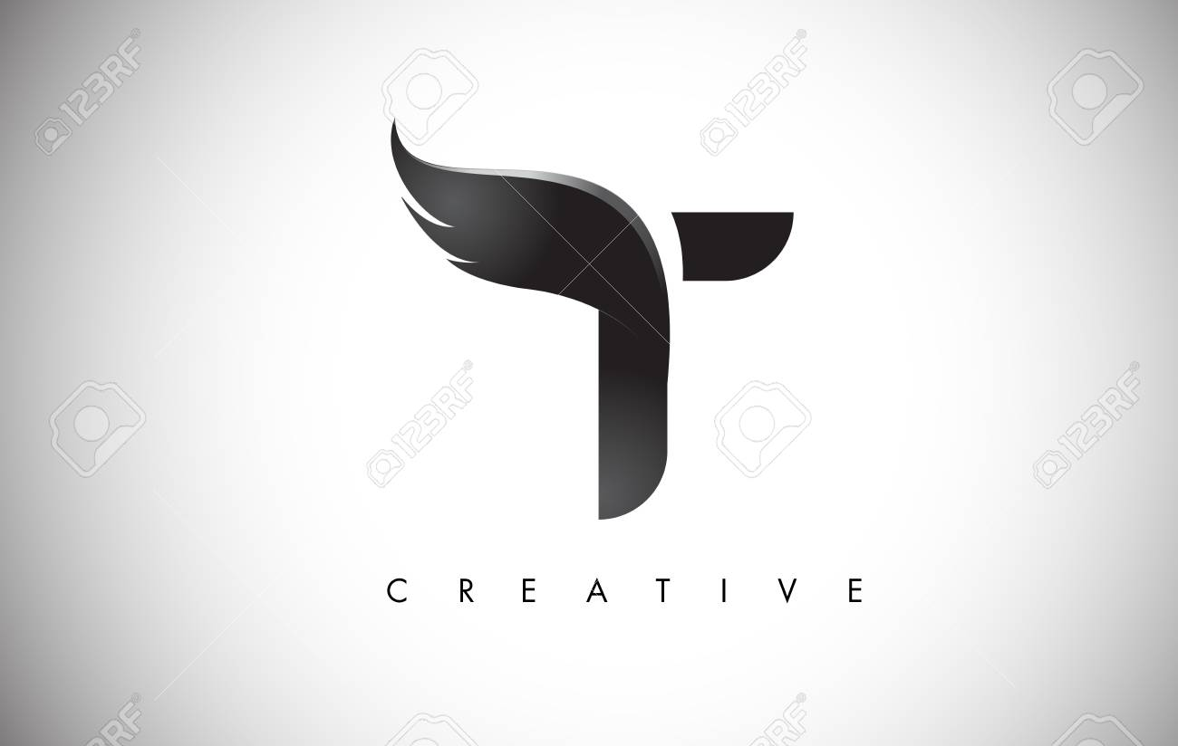 Letter T Wings Design Icon. - 88185957