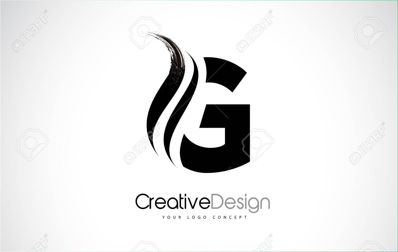 G Letter Design Brush Paint Stroke. Letter Logo With Black
