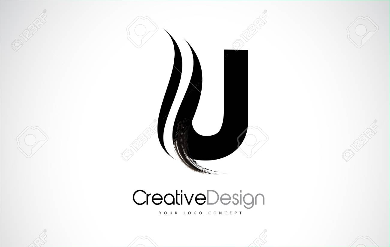 Letter U Design Brush Paint Stroke Letter Icon With Black