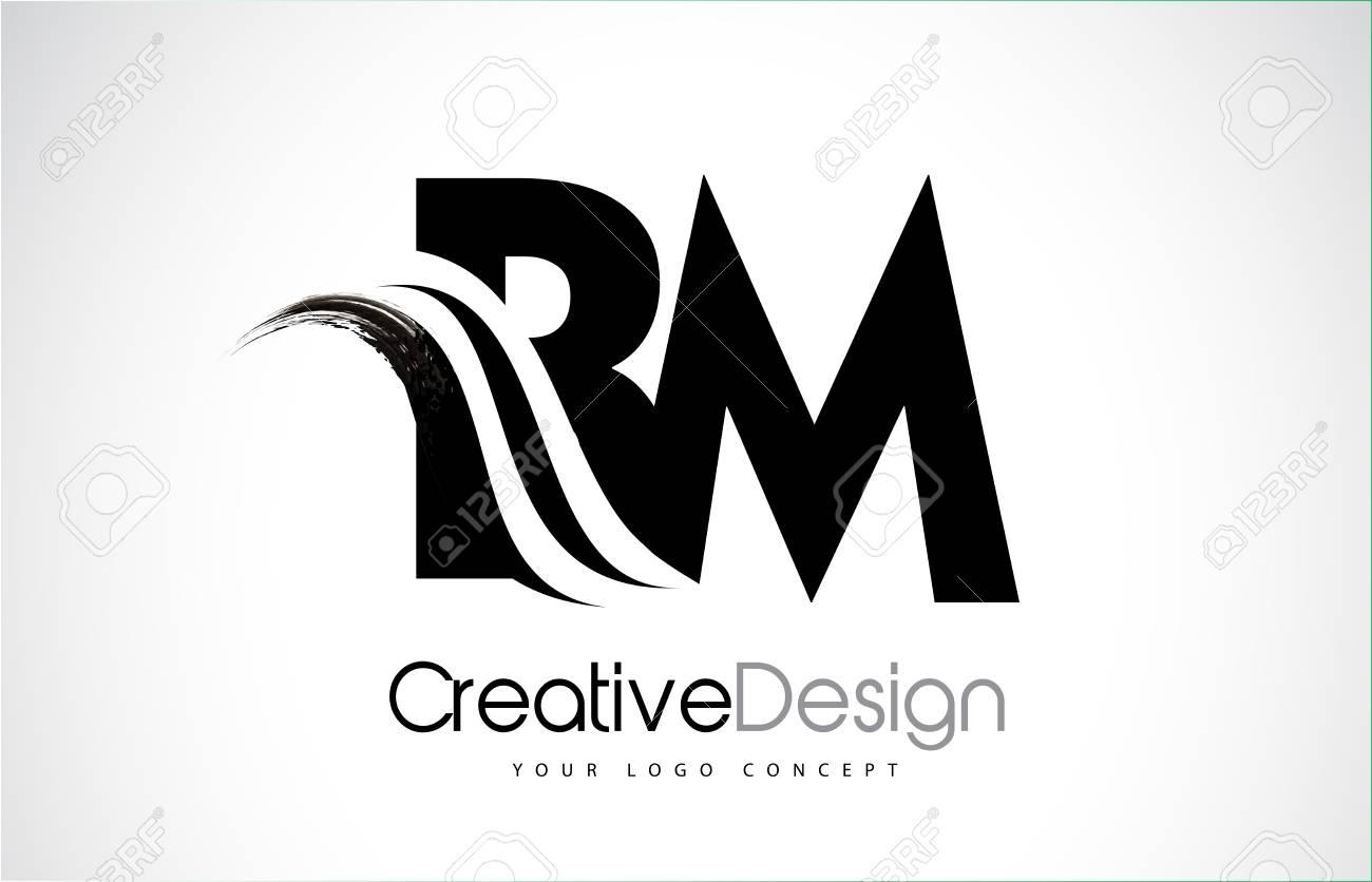 102d55bd8e733 BM creative modern black letters logo design with brush swoosh Stock Vector  - 94154446
