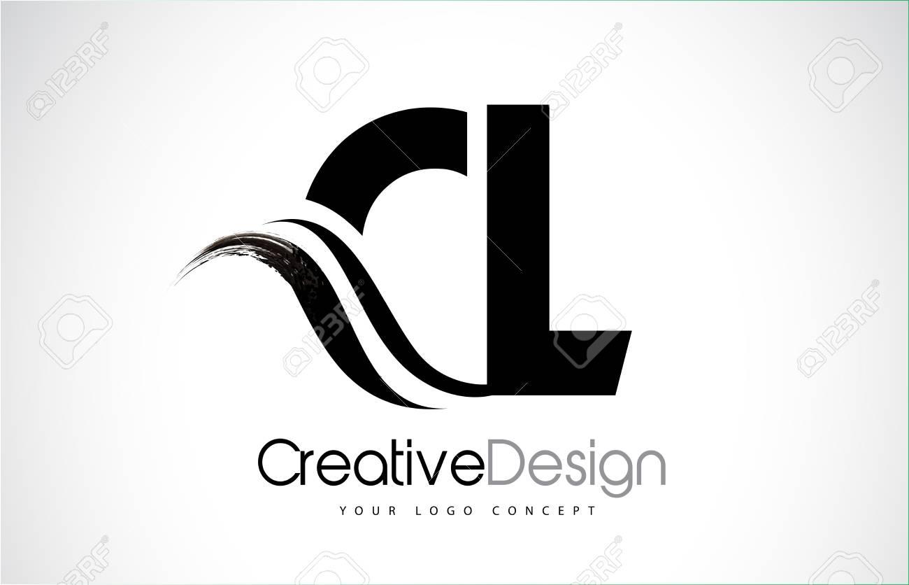 CL creative modern black letters logo design with brush swoosh - 94156757