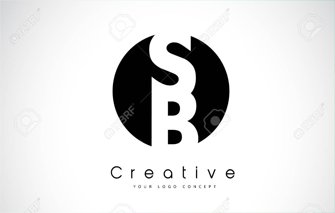 Letter SB icon design inside a black circle  Creative lettering