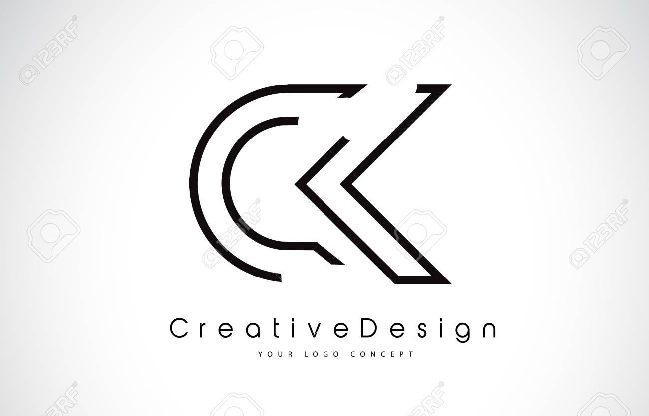 ck c k letter design in black colors creative modern letters