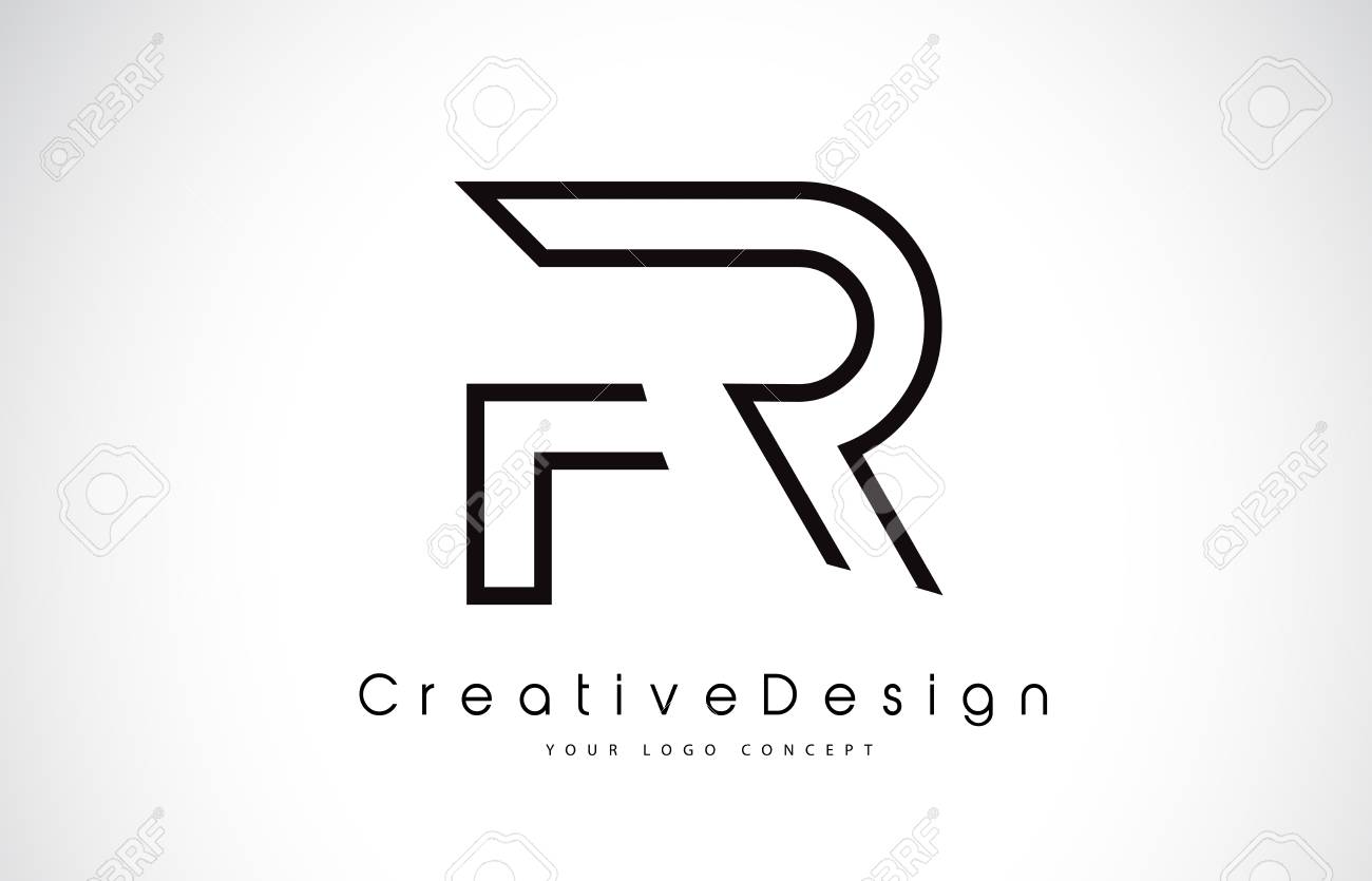 fr f r letter design in black colors creative modern letters
