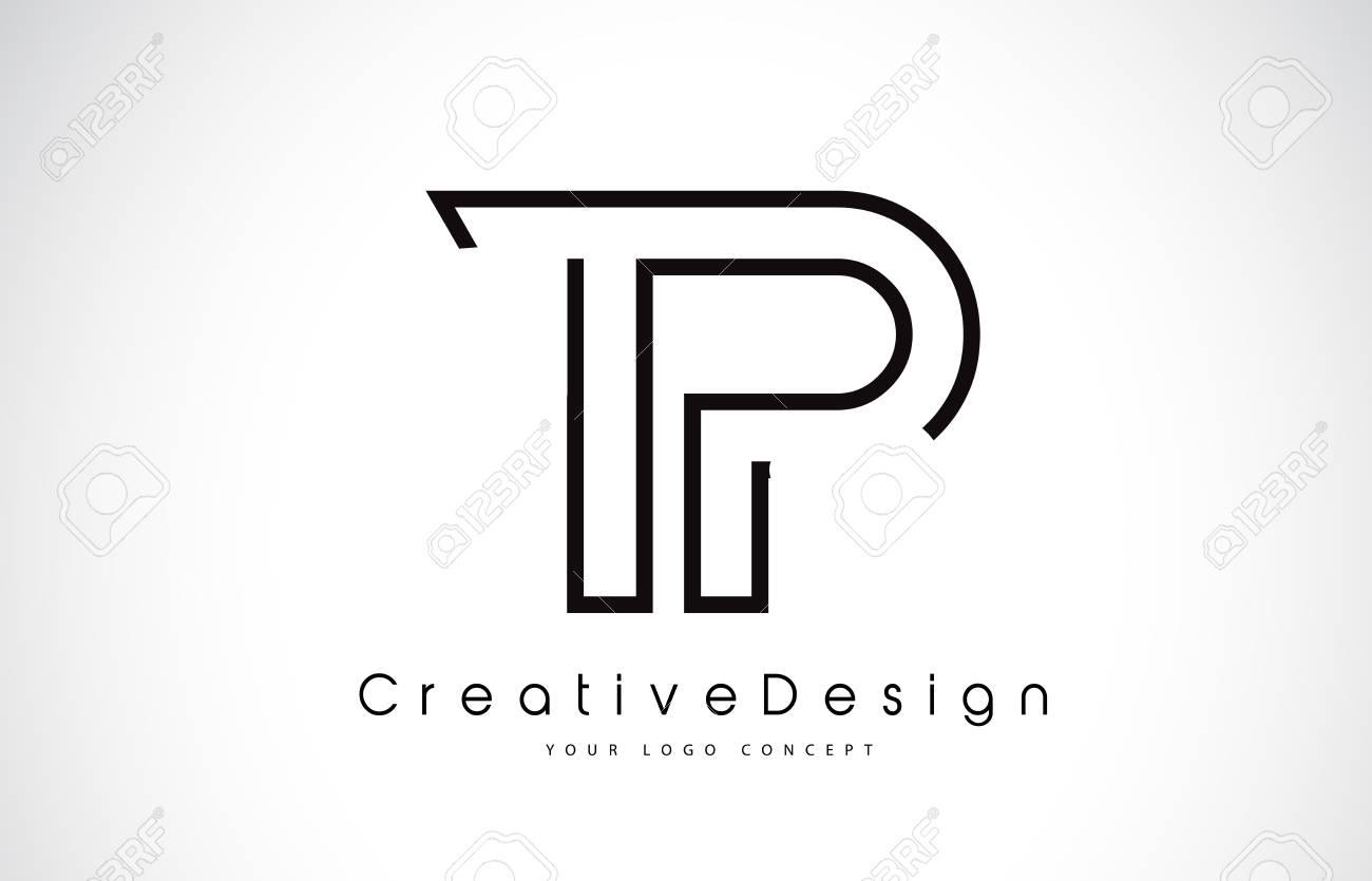 tp t p letter design in black colors creative modern letters