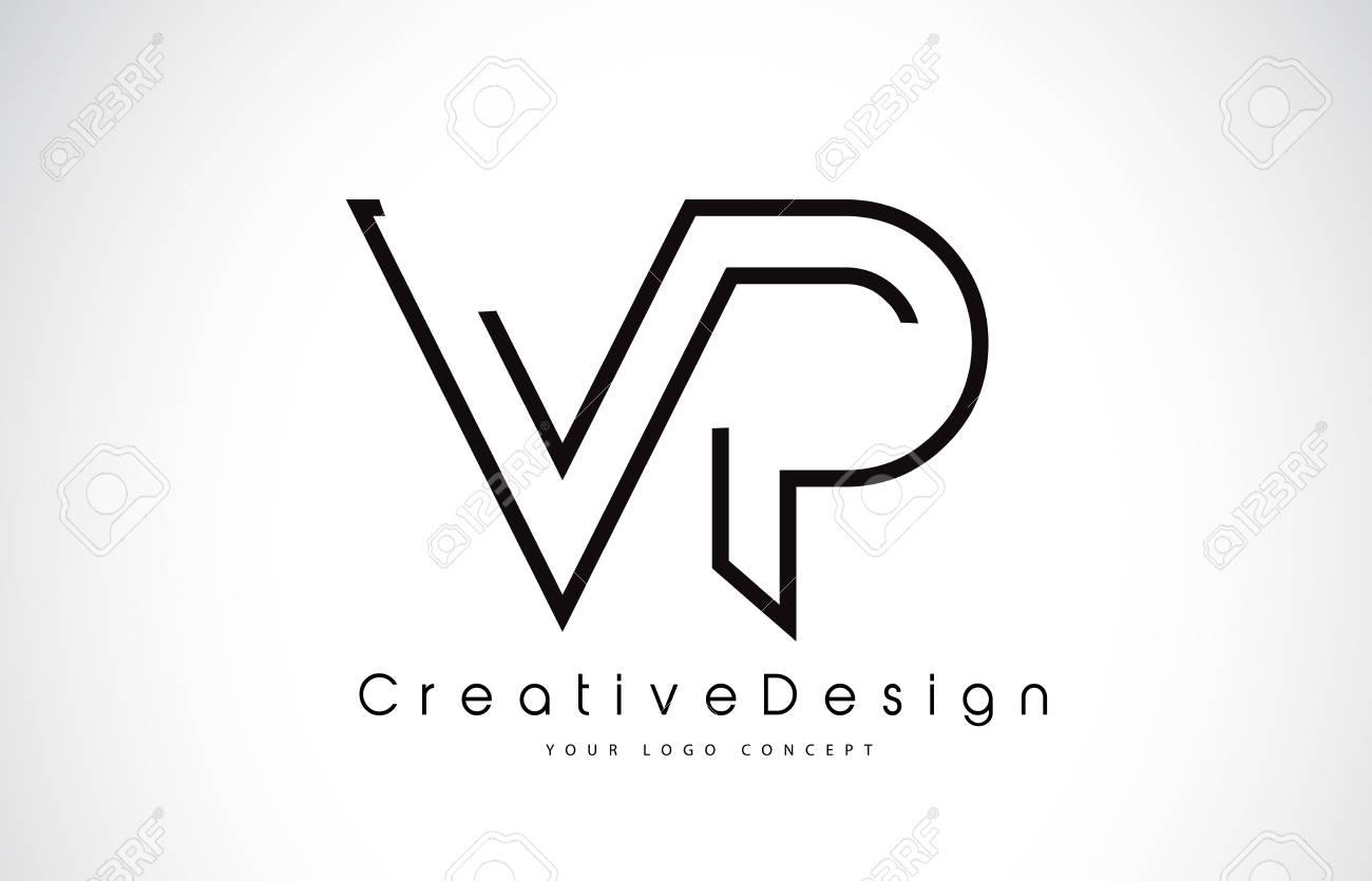 vp letter logo design in black colors creative modern letters