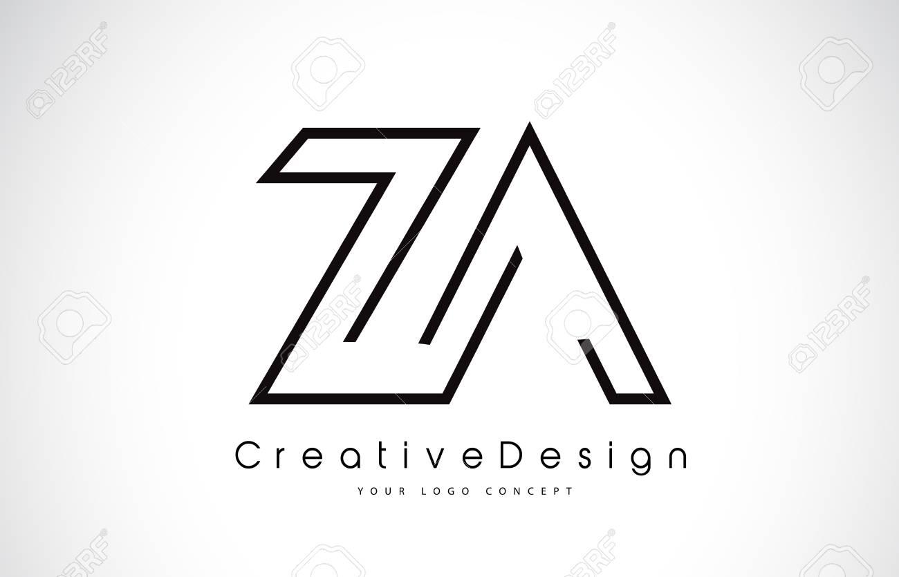 za letter logo design in black colors creative modern letters