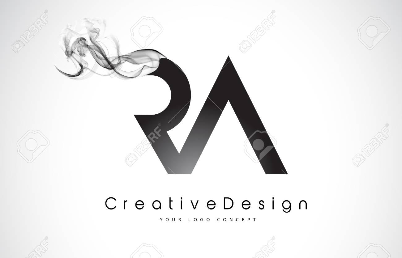 RA Letter Logo Design with Black Smoke. Creative Modern Smoke Letters Vector Icon Logo Illustration. - 98619848