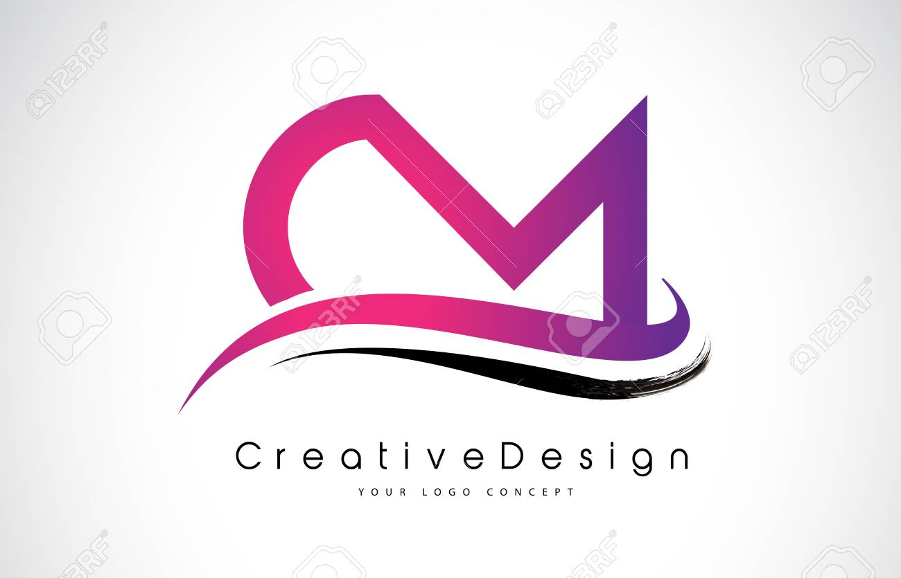 CM C M Letter Logo Design In Black Colors Creative Modern Letters Vector Icon Illustration