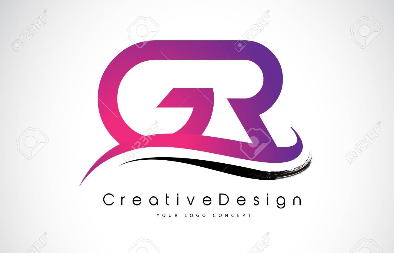 GR G R Letter Logo Design In Black Colors Creative Modern Letters Vector Icon Illustration