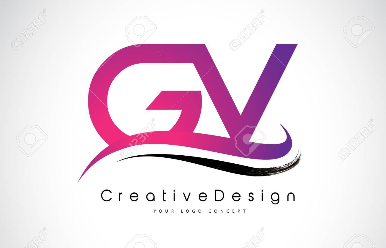 GV G V Letter Logo Design In Black Colors. Creative Modern Letters ...