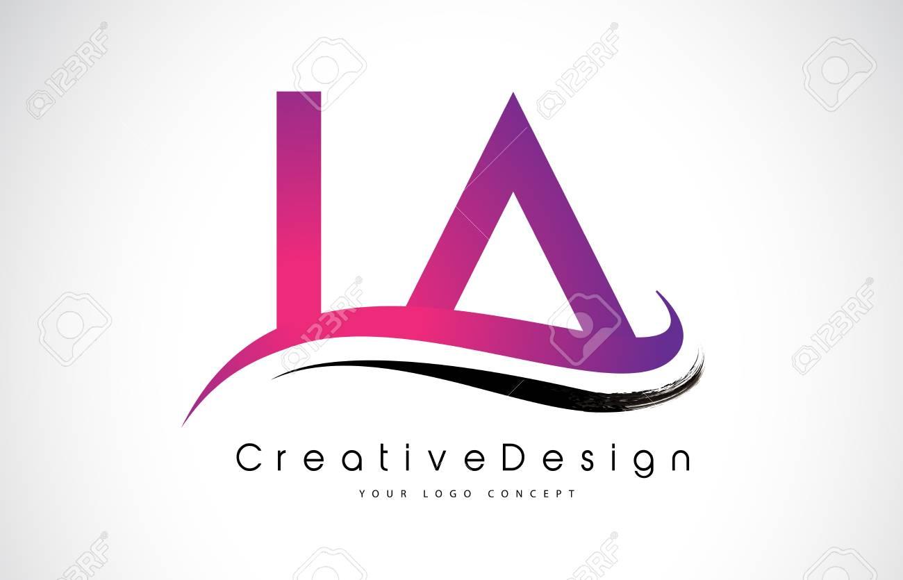 LA L A Letter Logo Design In Black Colors. Creative Modern Letters ...