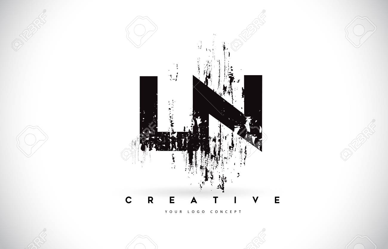 ln l n grunge brush letter logo design in black colors creative brush letters vector illustration