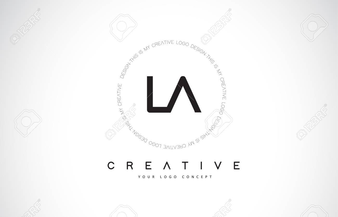 LA L A Logo Design with Black and White Creative Icon Text Letter Vector. - 106316466