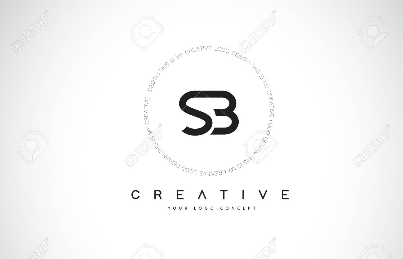 SB S B Logo Design with Black and White Creative Icon Text Letter