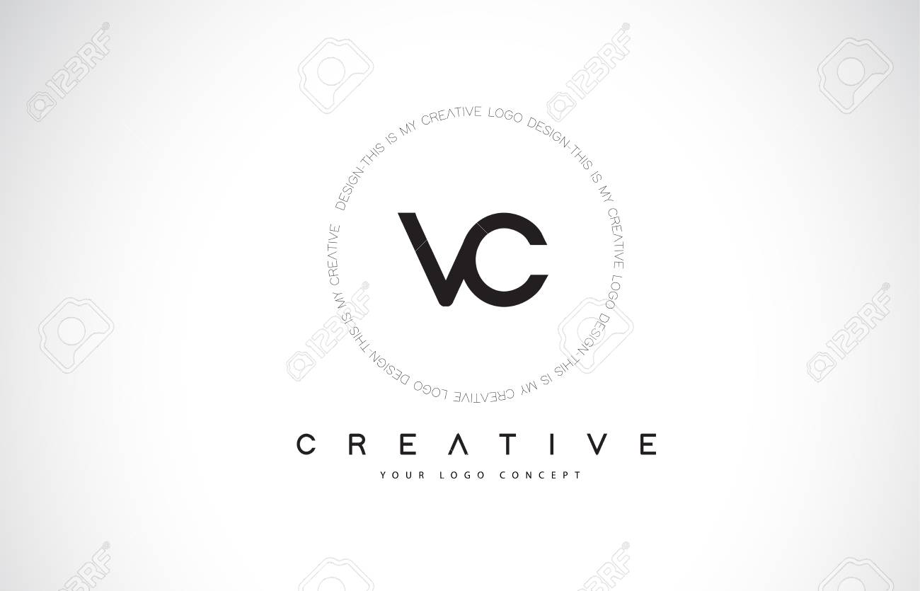 Vc V C Logo Design With Black And White Creative Icon Text Letter