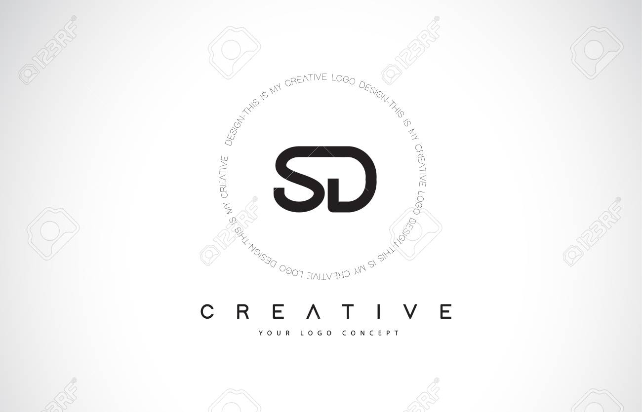 sd s d logo design with black and white creative icon text letter
