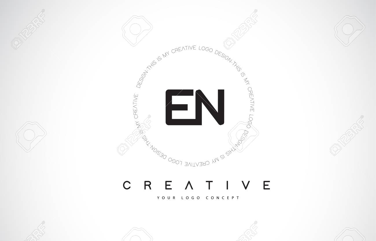 En E N Logo Design With Black And White Creative Icon Text Letter