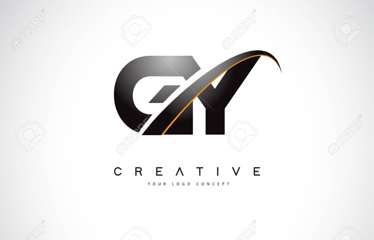 GY G Y Swoosh Letter Logo Design with Modern Yellow Swoosh Curved Lines Vector Illustration. - 107379060