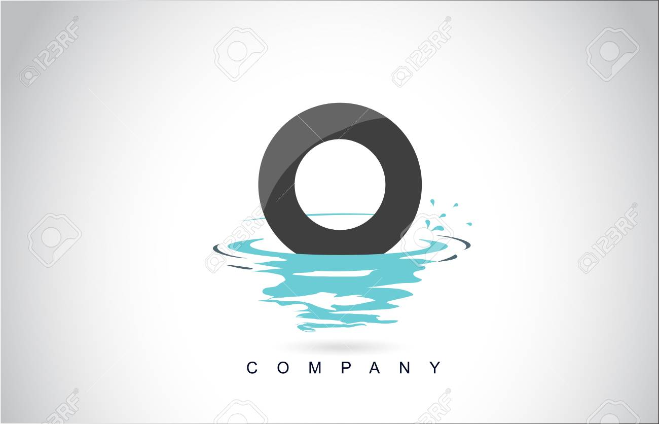 O Letter Logo Design with Water Splash Ripples Drops Reflection Vector Icon Illustration. - 107659341