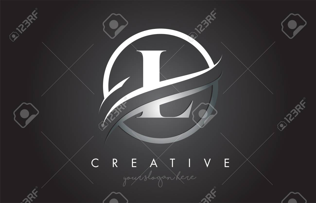 L Letter Icon Logo Design with Circle Steel Swoosh Border and Metal Texture. Creative L Design Vector Illustration. - 114491794