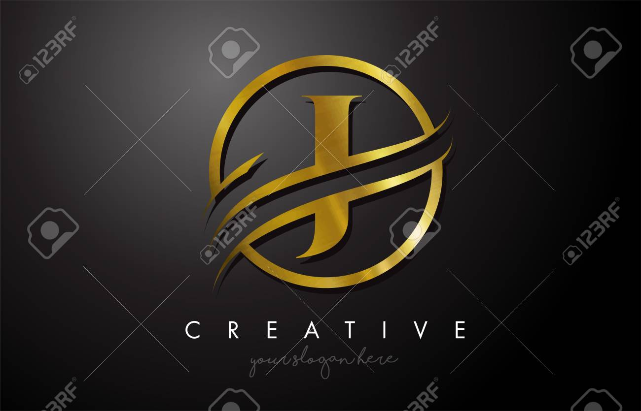 J Golden Letter Logo Design with Circle Swoosh and Gold Metal Texture. Creative Metal Gold J Letter Design Vector Illustration. - 116187043