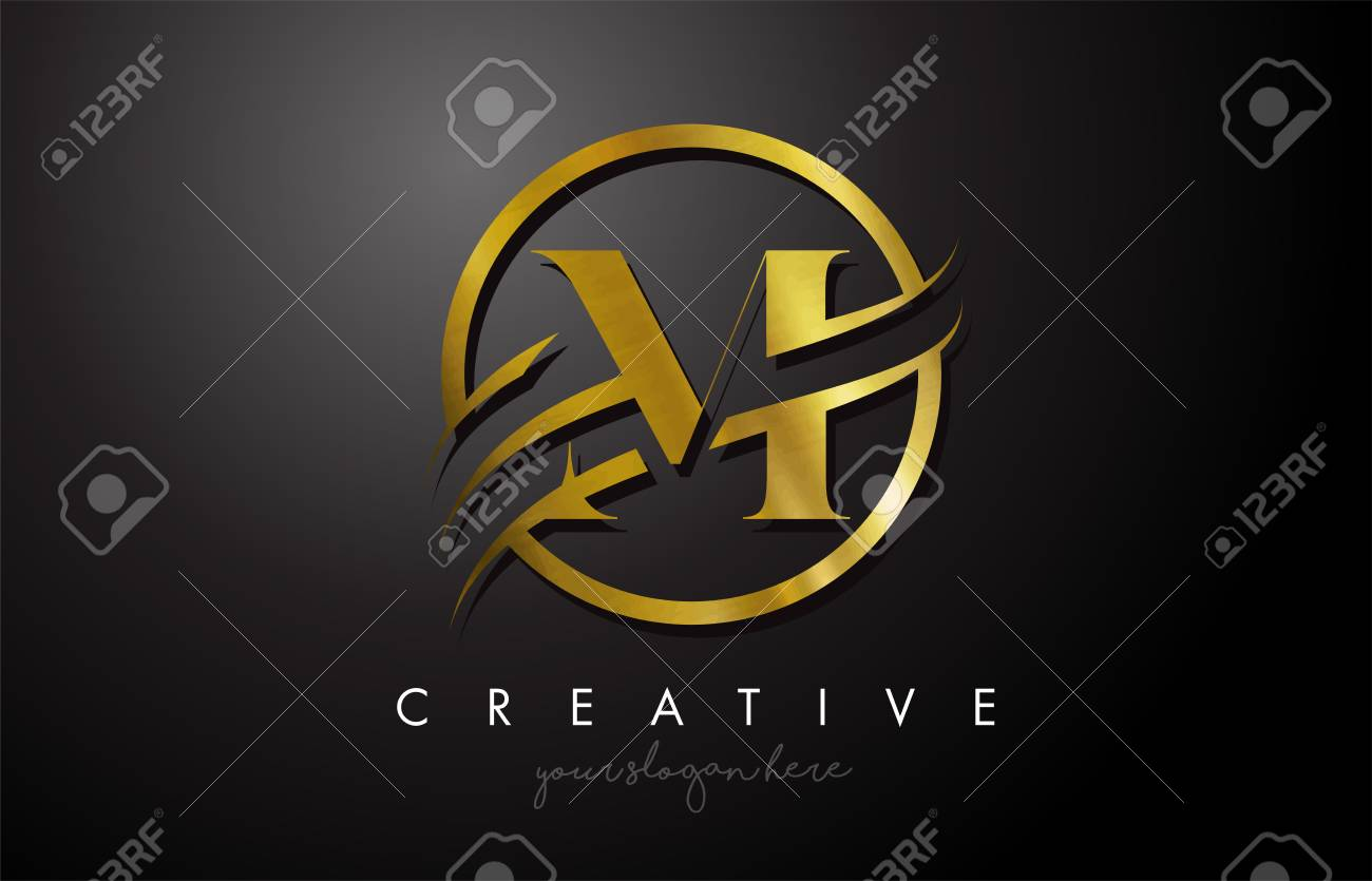 M Golden Letter Logo Design with Circle Swoosh and Gold Metal Texture. Creative Metal Gold M Letter Design Vector Illustration. - 116187046