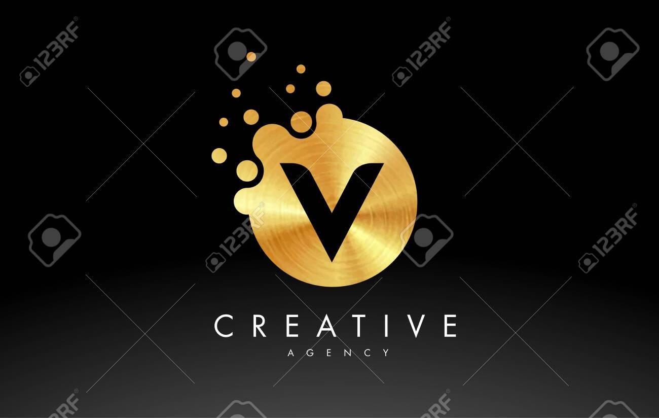 Golden Metal Dots Letter V Logo. V Letter Design Vector with Dots. - 120621115