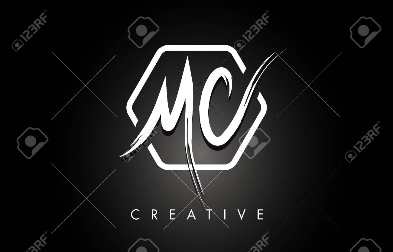MC M C Brushed Vector Letter Logo Design with Creative Modern Brush Lettering Texture and Hexagonal Shape. Brush Letters Design Logo Vector Illustration. - 123977120