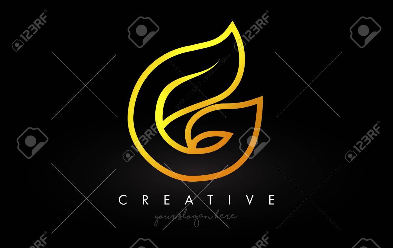 Letter G Golden Monogram Leaf Logo Icon Design with Gold Yellow Colors Vector Illustration. - 133641647